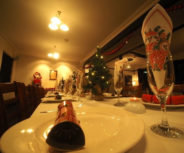 close up of Christmas lunch setting