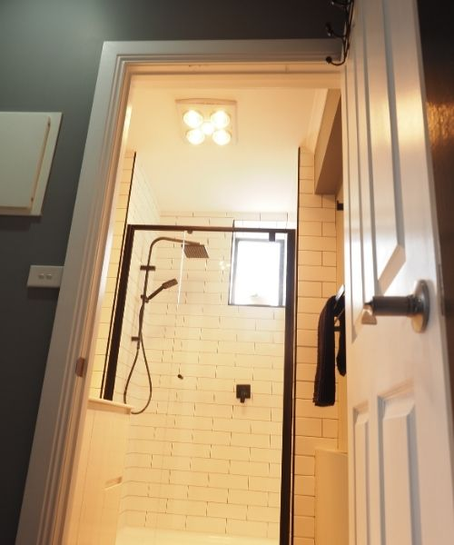 Self contained apartment shower
