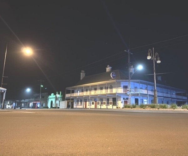 Star of the West Hotel night view